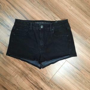 American Eagle Black Hi-Rise Shortie Shorts Sz 8